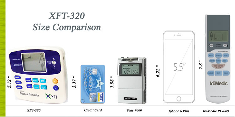 XFT-320A Electrical Massager - Size Comparison