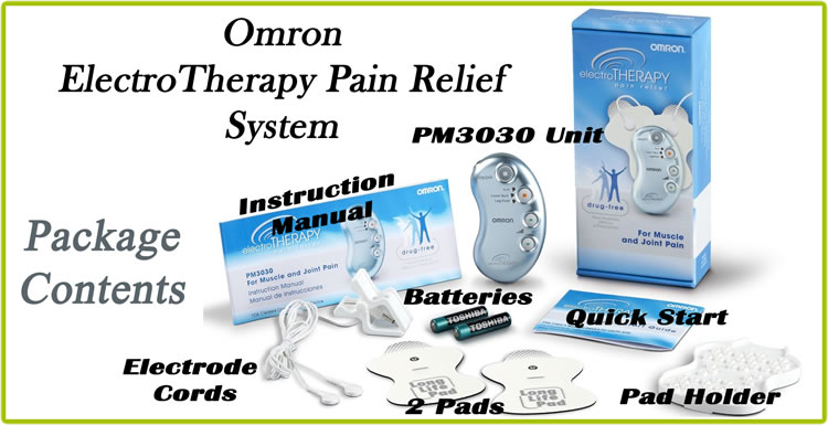 Omron Electrotherapy Pain Relief Device - Package Contents